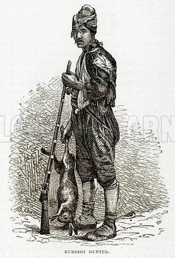 Kurdish Hunter. Illustration from The Countries of the World by Robert Brown (Cassell, c 1890).