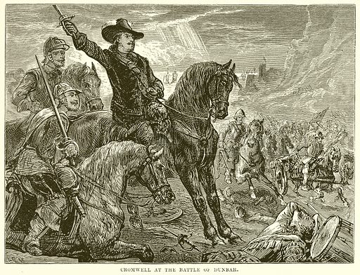Cromwell at the Battle of Dunbar. Illustration from The People's History of England (Cassell Petter & Galpin, c 1890).