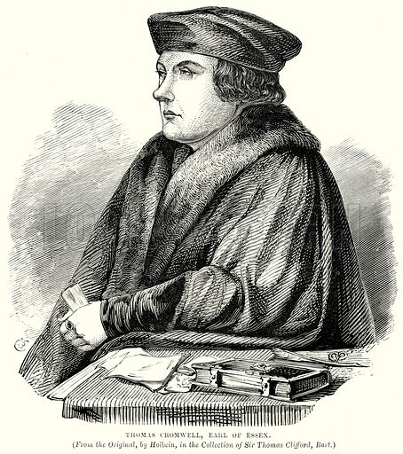 Thomas Cromwell, Earl of Essex. Illustration from The People's History of England (Cassell Petter & Galpin, c 1890).