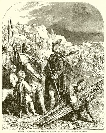 Metting of Hnegist and Horsa with King Vortigern on the Coast of Kent. Illustration from The People's History of England (Cassell Petter & Galpin, c 1890).