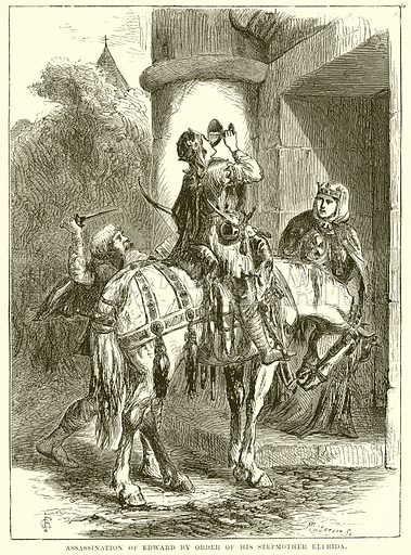 Assassination of Edward by Order of his Stepmother Elfrida. Illustration from The People