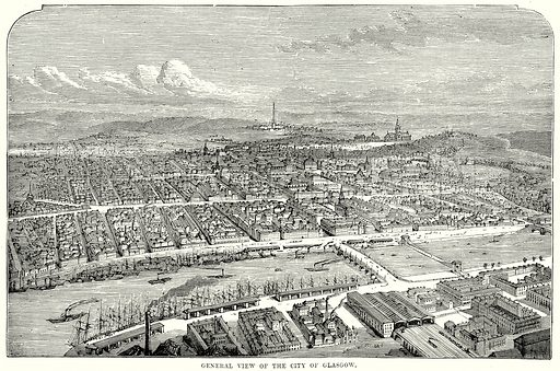 General view of the City of Glasgow. Illustration from The People's History of England (Cassell Petter & Galpin, c 1890).