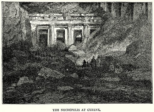 The Necropolis at Cyrene. Illustration from The Illustrated History of the World (Ward Lock, c 1880).
