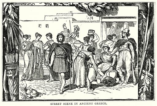 Street Scene in Ancient Greece. Illustration from The Illustrated History of the World (Ward Lock, c 1880).
