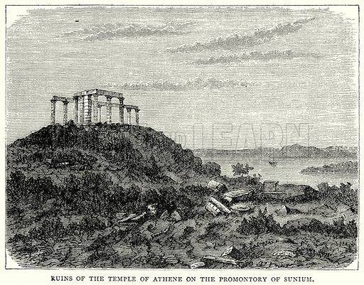 Ruins of the Temple of Athene on the Promontory of Sunium. Illustration from The Illustrated History of the World (Ward Lock, c 1880).
