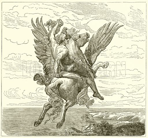 Perseus on the Winged Horse Pegasus, with Medusa's Head