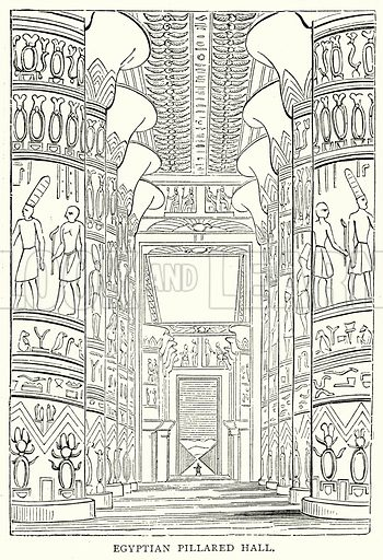 Egyptian Pillared Hall. Illustration from The Illustrated History of the World (Ward Lock, c 1880).