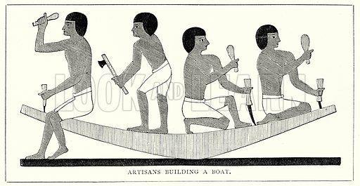 Artisans Building a Boat. Illustration from The Illustrated History of the World (Ward Lock, c 1880).