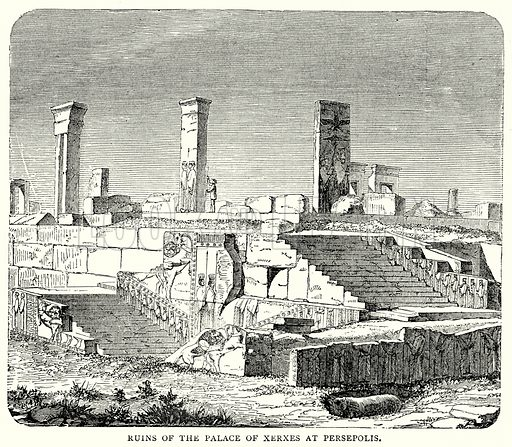 Ruins of the Palace of Xerxes at Persepolis. Illustration from The Illustrated History of the World (Ward Lock, c 1880).