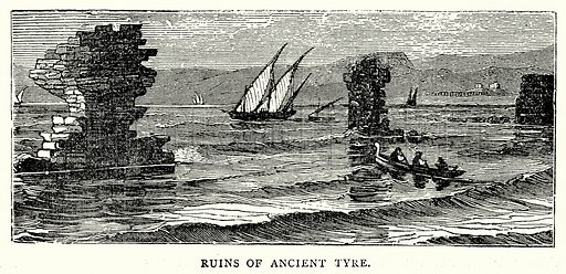 Ruins of Ancient Tyre. Illustration from The Illustrated History of the World (Ward Lock, c 1880).