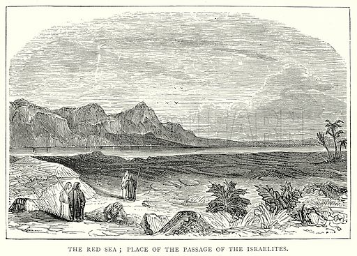 The Red Sea; Place of the Passage of the Israelites. Illustration from The Illustrated History of the World (Ward Lock, c 1880).