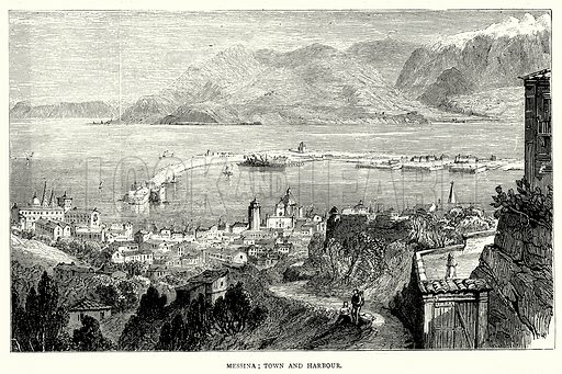 Messina; Town and Harbour. Illustration from The Illustrated History of the World (Ward Lock, c 1880).