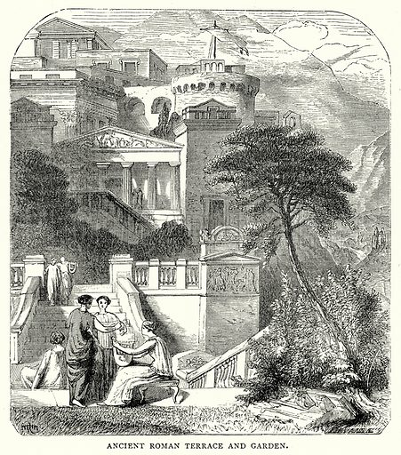 Ancient Roman Terrace and Garden. Illustration from The Illustrated History of the World (Ward Lock, c 1880).