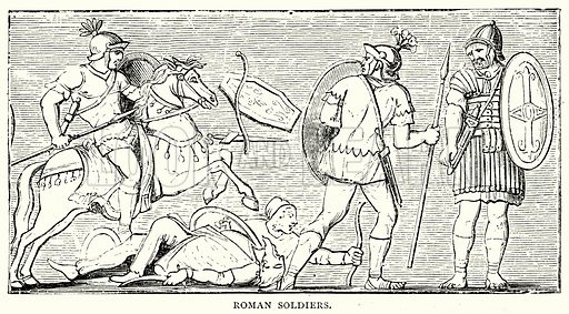 Roman Soldiers. Illustration from The Illustrated History of the World (Ward Lock, c 1880).
