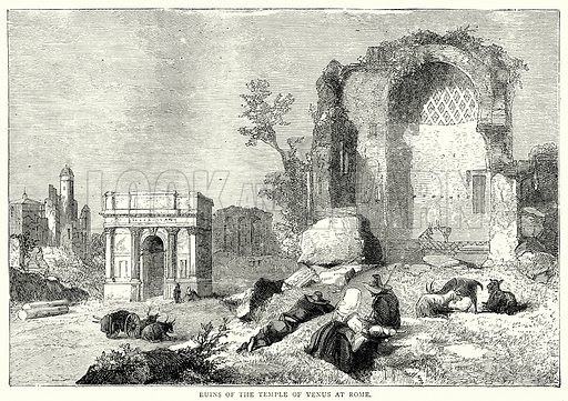 Ruins of the Temple of Venus at Rome. Illustration from The Illustrated History of the World (Ward Lock, c 1880).