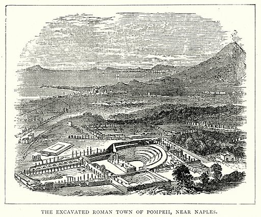 The Excavated Roman Town of Pompeii, near Naples. Illustration from The Illustrated History of the World (Ward Lock, c 1880).