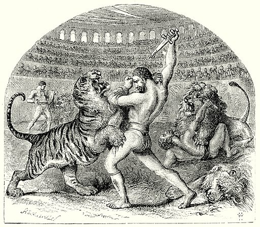Combat of Gladiators with Wild Animals. Illustration from The Illustrated History of the World (Ward Lock, c 1880).