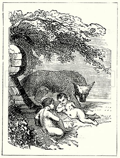 Romulus and Remus. Illustration from The Illustrated History of the World (Ward Lock, c 1880).