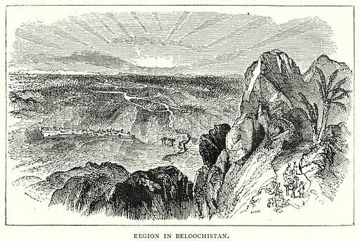 Region in Beloochistan. Illustration from The Illustrated History of the World (Ward Lock, c 1880).