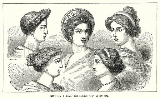 Greek Head-Dresses of Women. Illustration from The Illustrated History of the World (Ward Lock, c 1880).