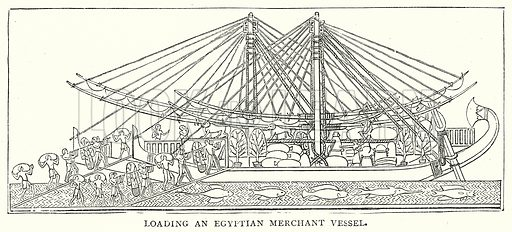 Loading an Egyptian Merchant Vessel. Illustration from The Illustrated History of the World (Ward Lock, c 1880).