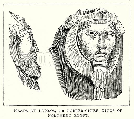 Heads of Hyksos, or Robber-Chief, Kings of Northern Egypt. Illustration from The Illustrated History of the World (Ward Lock, c 1880).