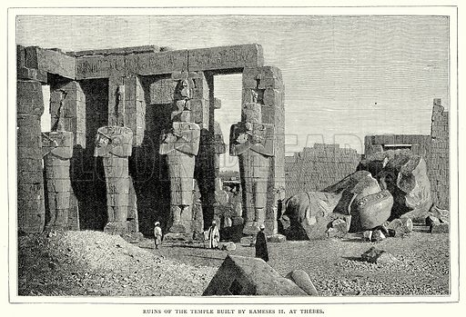 Ruins of the Temple built by Rameses II at Thebes. Illustration from The Illustrated History of the World (Ward Lock, c 1880).