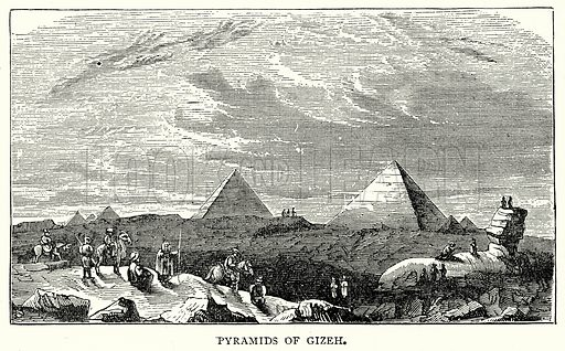 Pyramids of Gizeh. Illustration from The Illustrated History of the World (Ward Lock, c 1880).