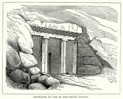 Entrance to one of the Kings' Graves. Illustration from The Illustrated History of the World (Ward Lock, c 1880).