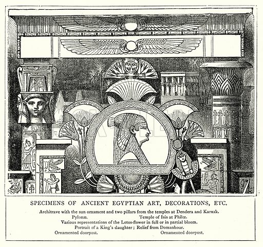 Specimens of Ancient Egyptian Art, Decorations, Etc. Illustration from The Illustrated History of the World (Ward Lock, c 1880).