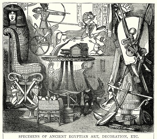 Specimens of Ancient Egyptian Art, Decoration, Etc. Illustration from The Illustrated History of the World (Ward Lock, c 1880).