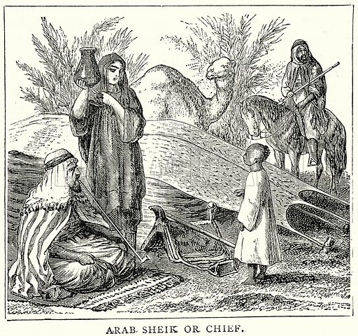Arab Sheik or Chief. Illustration from The Illustrated History of the World (Ward Lock, c 1880).