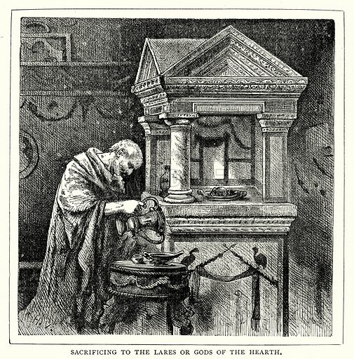 Sacrificing to the Lares or Gods of the Hearth. Illustration from The Illustrated History of the World (Ward Lock, c 1880).