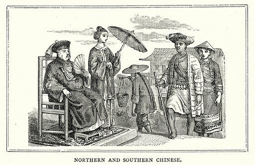 Northern and Southern Chinese. Illustration from The Illustrated History of the World (Ward Lock, c 1880).