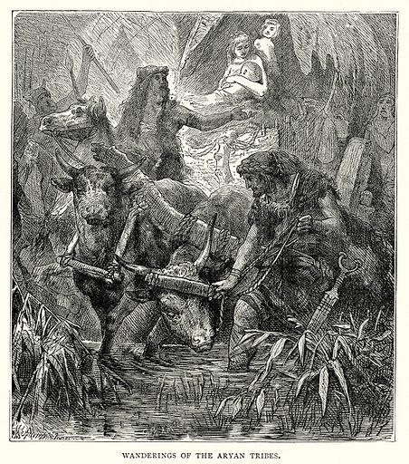 Wanderings of the Aryan Tribes. Illustration from The Illustrated History of the World (Ward Lock, c 1880).