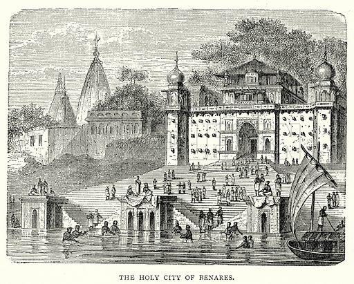 The Holy City of Benares. Illustration from The Illustrated History of the World (Ward Lock, c 1880).