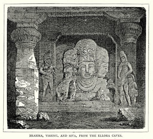 Brahma, Vishnu, and Siva, from the Ellora Caves. Illustration from The Illustrated History of the World (Ward Lock, c 1880).