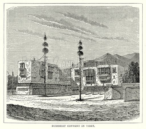 Buddhist Convent in Tibet. Illustration from The Illustrated History of the World (Ward Lock, c 1880).