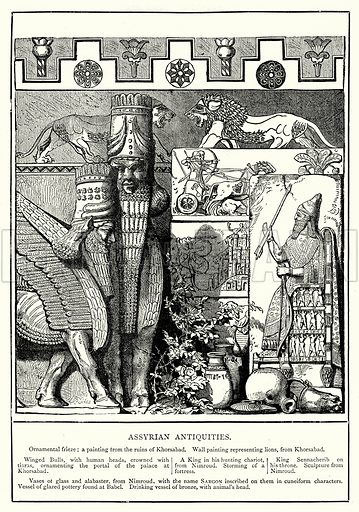 Assyrian Antiquities. Illustration from The Illustrated History of the World (Ward Lock, c 1880).