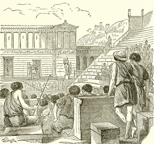Theatre in Ancient Greece. Illustration from The Illustrated History of the World (Ward Lock, c 1880).