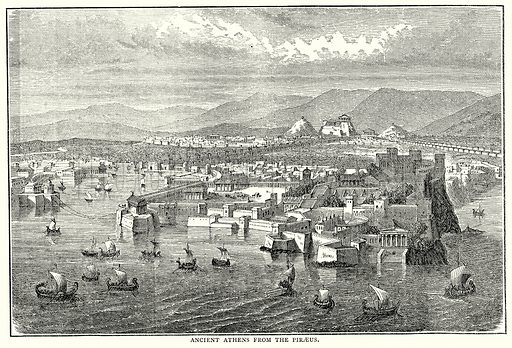 Ancient Athens from the Piraeus. Illustration from The Illustrated History of the World (Ward Lock, c 1880).