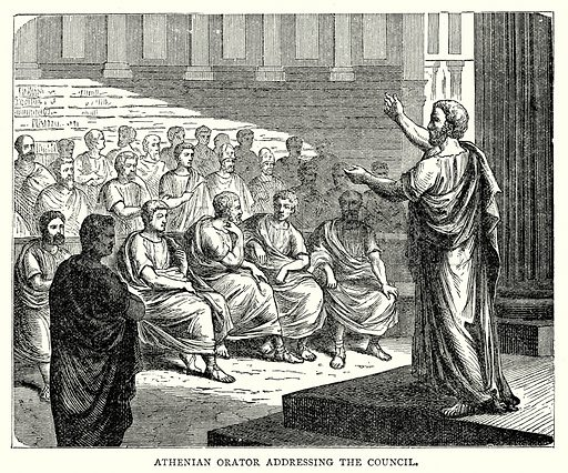 Athenian Orator addressing the Council. Illustration from The Illustrated History of the World (Ward Lock, c 1880).