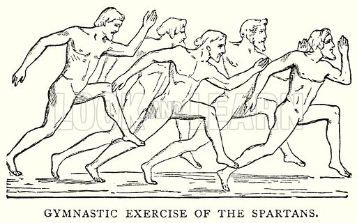 Gymnastic Exercise of the Spartans. Illustration from The Illustrated History of the World (Ward Lock, c 1880).