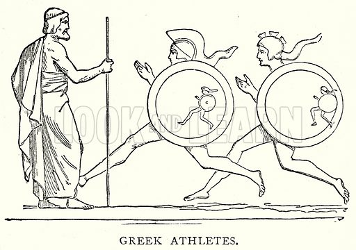 Greek Athletes. Illustration from The Illustrated History of the World (Ward Lock, c 1880).