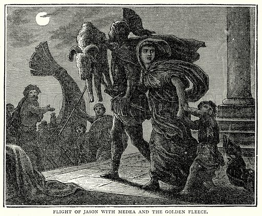 Flight of Jason with Medea and the Golden Fleece. Illustration from The Illustrated History of the World (Ward Lock, c 1880).