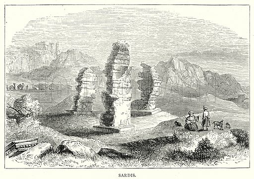 Sardis. Illustration from The Illustrated History of the World (Ward Lock, c 1880).