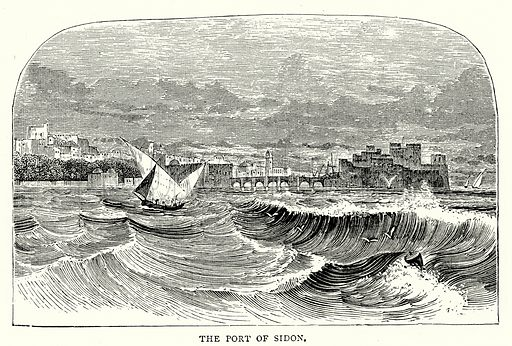 The Port of Sidon. Illustration from The Illustrated History of the World (Ward Lock, c 1880).