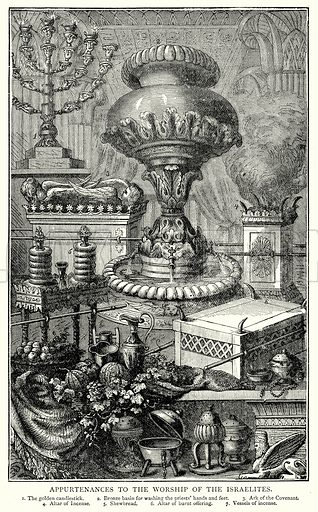 Appurtenances to the Worship of the Israelites. 1. The Golden Candiestick. 2. Bronze Basin for washing the Priests' Hands and feet. 3. Ark of the Covenant. 4. Altar of Incense. 5. Shewbread. 6. Altar of Burnt Offering. 7. Vessels of Incense. Illustration from The Illustrated History of the World (Ward Lock, c 1880).