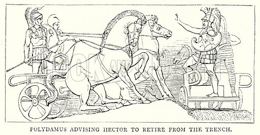 Polydamus advising Hector to retire from the Trench. Illustration from The Illustrated History of the World (Ward Lock, c 1880).