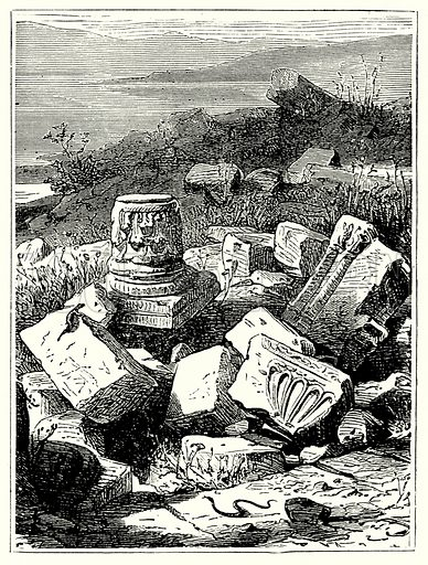 Classical ruins. Illustration from The Illustrated History of the World (Ward Lock, c 1880).